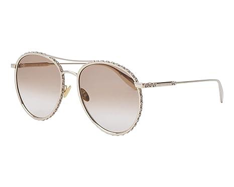 dce2835c9d3a4 Alexander McQueen AM 0179S 003 Gold Metal Round Sunglasses Brown Gradient  Lens  Amazon.co.uk  Clothing