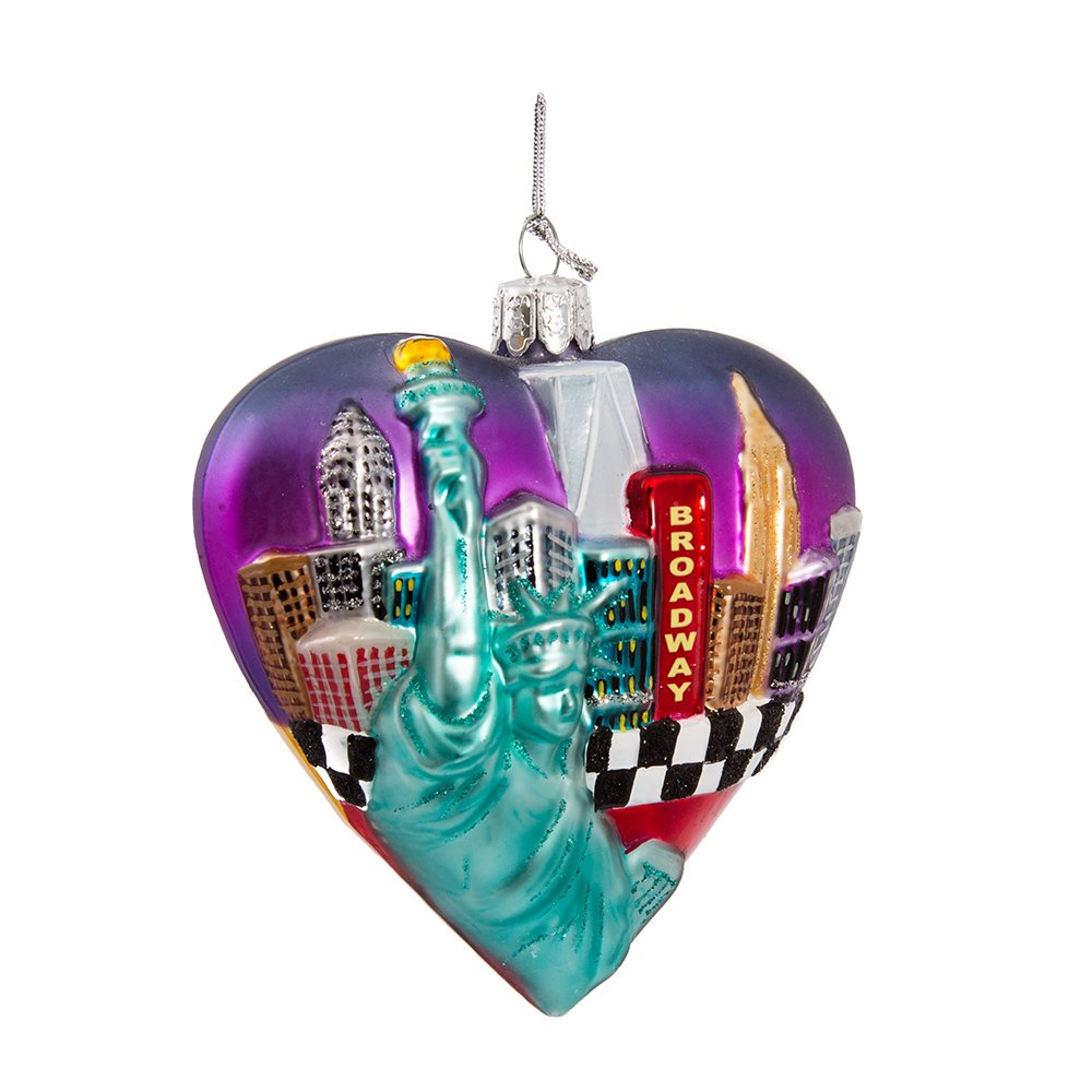 Kurt Adler Glass New York Cityscape Ornament, 3.75-Inch