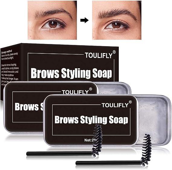 Soap Brows,Jabón para Cejas,Gel para Jabones de Cejas en 3D Crema,Wild Eyebrow Shape Soap,con Cepillo Jabón para dar Forma a Las Cejas,Impermeable de ...