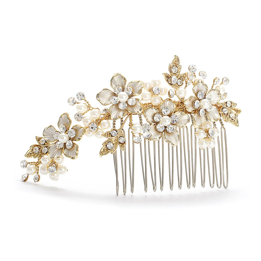 Mariell Handmade Brushed Gold and Ivory Pearl Wedding Comb - Crystal Jeweled Bridal Hair Accessory H001-I-G