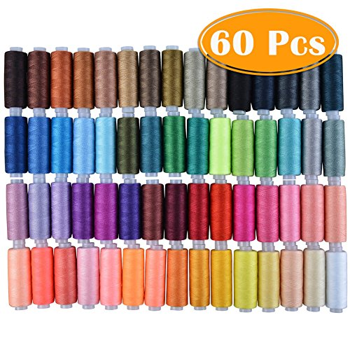 - Paxcoo 60 Assorted Color Polyester Sewing Thread Spools 250 Yards Each
