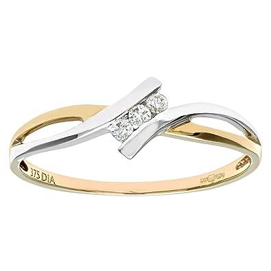 Naava Women's 9 ct White Gold Fancy Diamond Crossover Ring 9JyjZX5