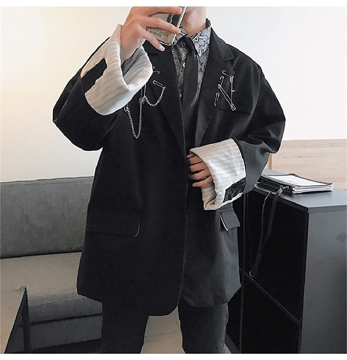NestYu Men Decoration Baggy Big and Tall Blazer One Button Sport Coat