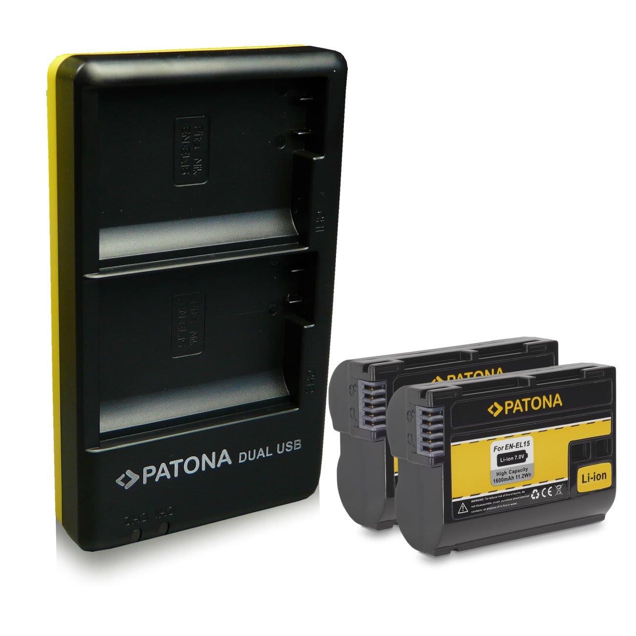 PATONA Dual Cargador EN-EL15 con Micro USB + 2x Batteria para ...