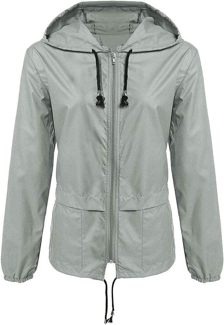 Alion Womens Raincoat Outdoor Windbreaker Lightweight Hood Zipper Jacket
