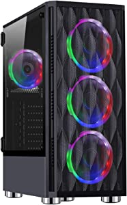 ESGAMING E- ATX Mid-Tower PC Gaming Case Black Computer Case with 3X 120mm 12V Rainbow Fan + 1x 120mm Rear Fan Pre-Installed