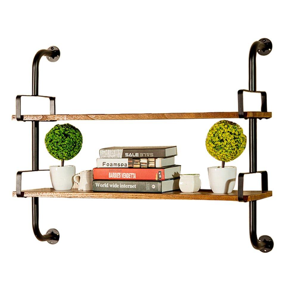 2 layer 45CM MDBLYJ Wall-Mounted Iron arm Solid Wood Frame European Style Living Room Shelf Ledge, 1 2 Layer Optional Modern Minimalist Wall-Mounted Racks. (color   1 Layer, Size   60CM)