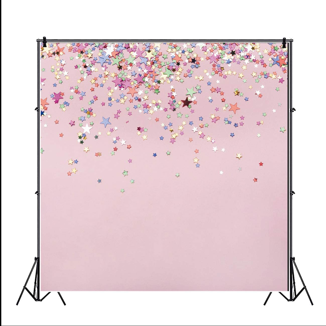 YEELE Pink Photography Background 6.5x6.5ft Colorful Stars Scattered Backdrop Baby Shower Background Girl Birthday Party Quinceanera Photo Shoot Booth Digital Wallpaper