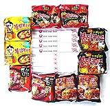 Korean Spicy Hot Ramen Variety (10-Pack) Samyang Spicy Chicken Roasted Noodles Hek Buldak, Paldo Bulnak Teumsae & Nom Nom Box Chopsticks (10 Count)