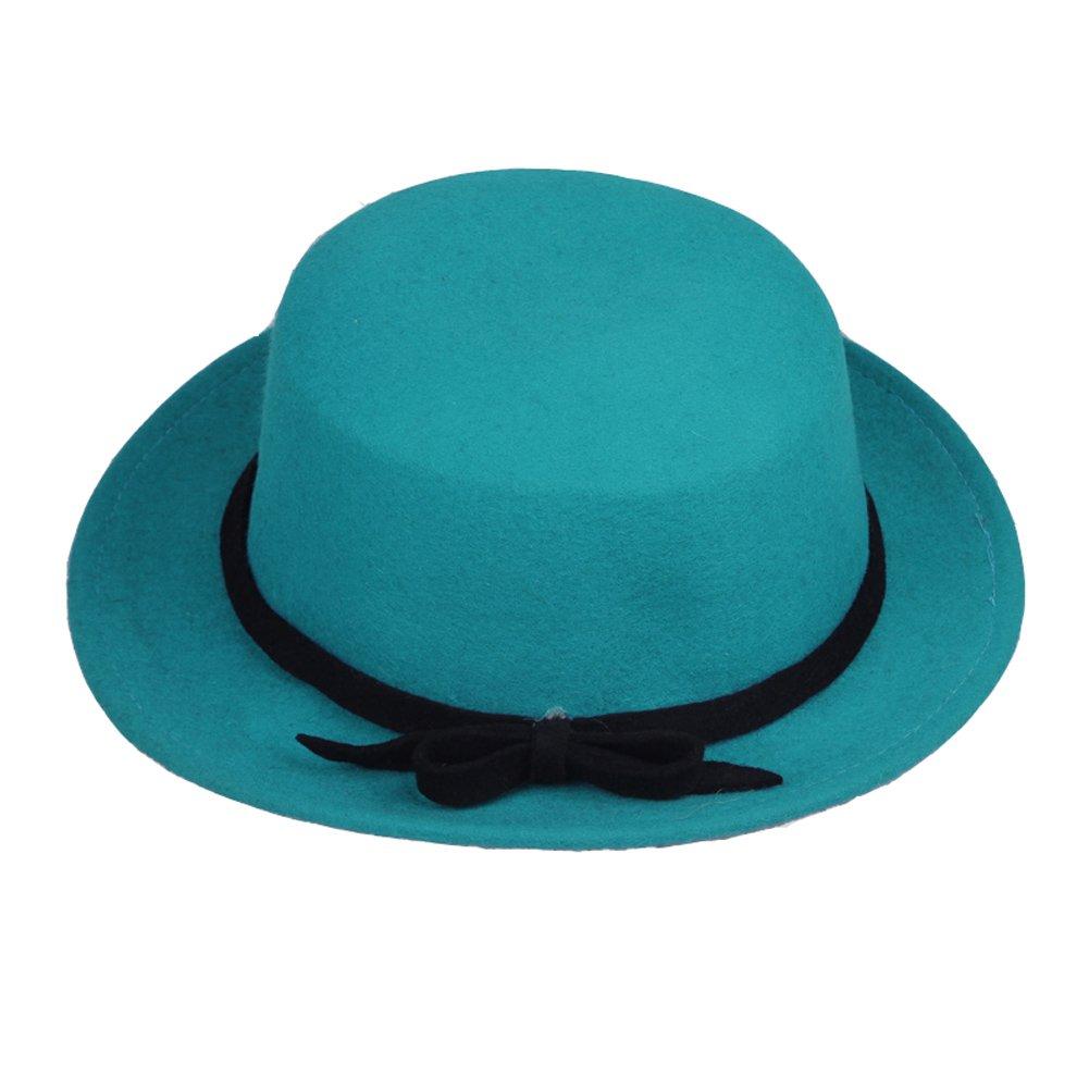 Jtc Womens Flat Top Bowknot Cap Wool Bucket Hat Turquoise