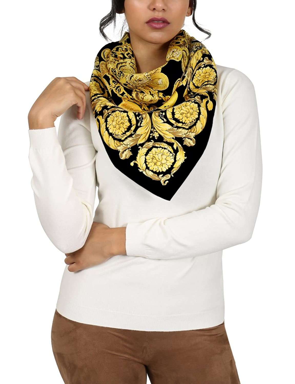 Versace Black/Gold Creponne Chain Print Silk Foulard Scarf