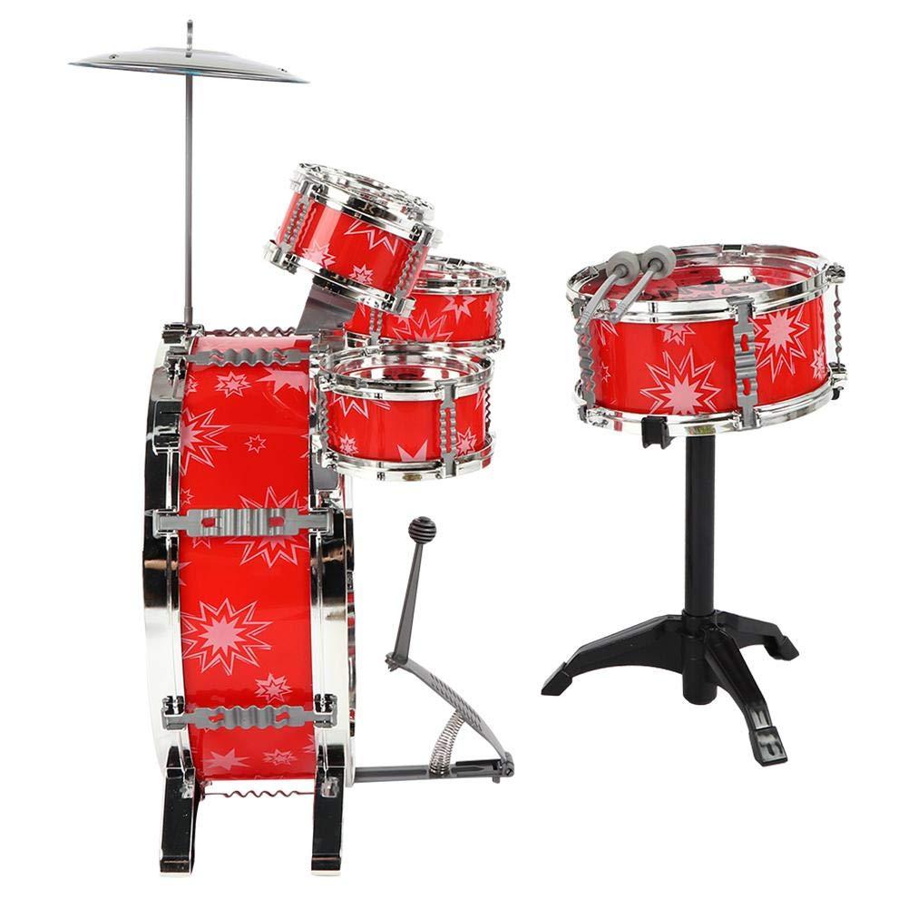 Zerodis Enfants Set Batterie Jazz Jouets 6 Drums avec Petits Cymbal Tabouret Pilons Instrument de Musique pour Simulation de Tabouret Jouets Educatifs Cadeau pour Gar/çons Filles