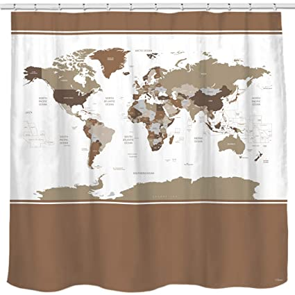 Image Unavailable Not Available For Color Sunlit Designer New Updated World Map Quality Fabric Shower Curtain
