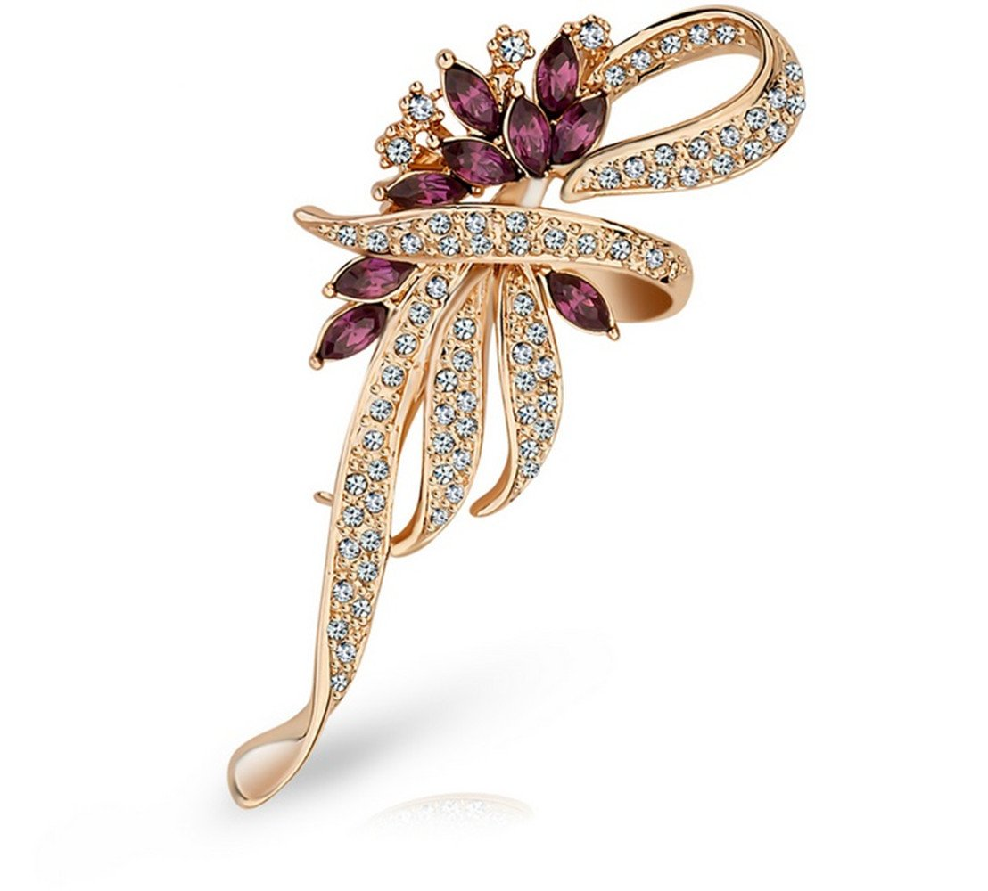 Bouquet Brooch Women Crystals Jewelry Leaf Broaches Pins Birthday Gifts -AGG014 (Yellow)