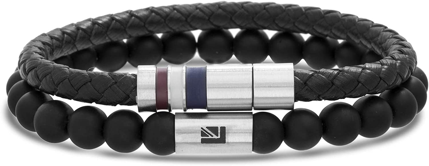 Ben Sherman Men's Black Braided Faux Leather and Black Onyx Duo Bracelet Set in Stainless Steel, Black, 8