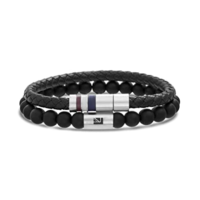 Ben Sherman Mens Black Faux Leather Braided Bracelet with Stainless Steel Snap On Closure