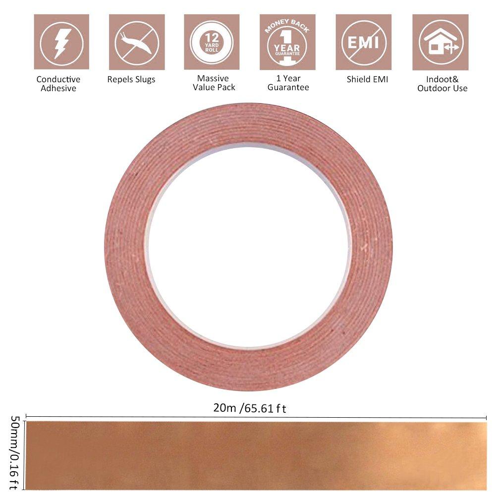 50mm x 20m Multifunktionales Kupferband Kupferfolienband Abschirmband Kupferfolie Selbstklebend Klebeband
