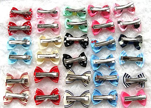 Dogs Kingdom Variety Patterns Pet Dog Cat Head Flower Hairpin Pet Bow Hairpin Random-20Pcs One Size