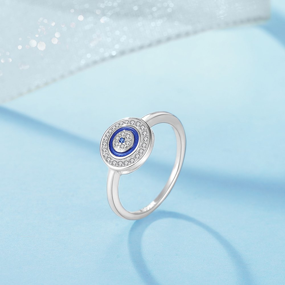 TONGZHE Round Blue Evil Eye Band Ring in Sterling Silver 925 w//Cubic Zirconia /& Enamel Size 6-8