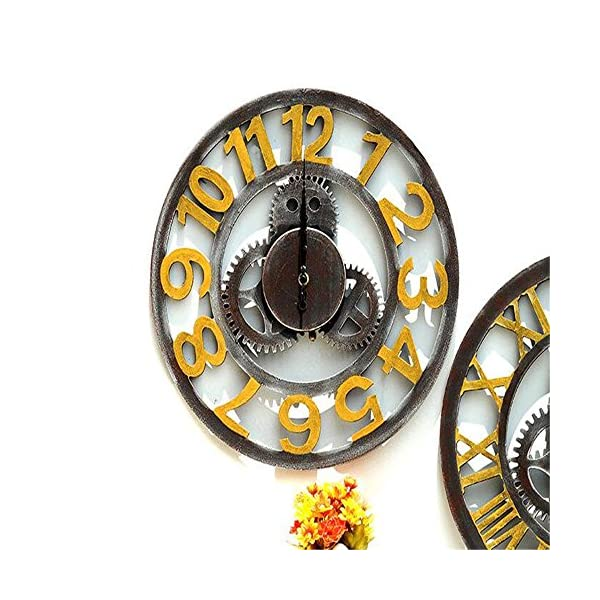 xiangshang shangmao Modern Home Decor Wall Clock Large Round Metal Color Vintage Steampunk Skeleton A 5