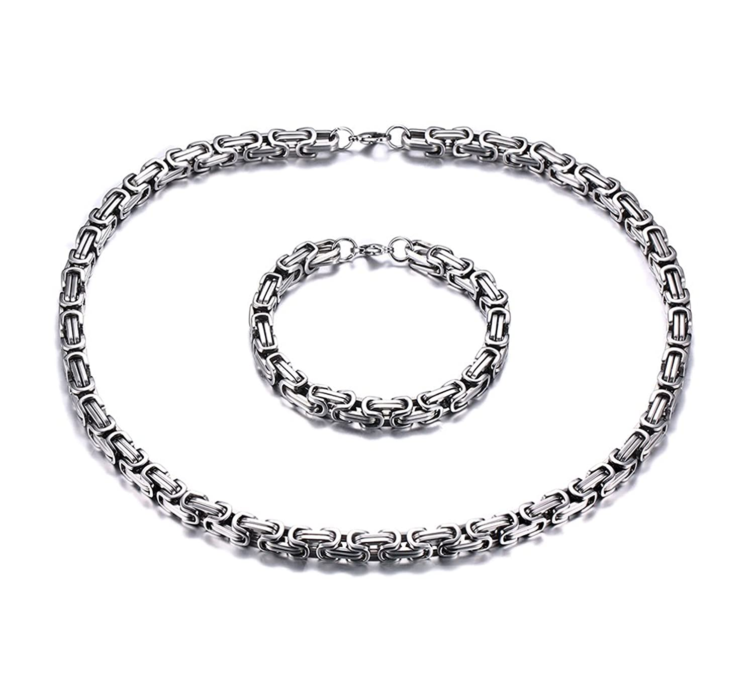 "Punk Style Stainless Steel Heavy Byzantine Chain Bracelet and Necklace Set for Men,Sliver,9""+24"""