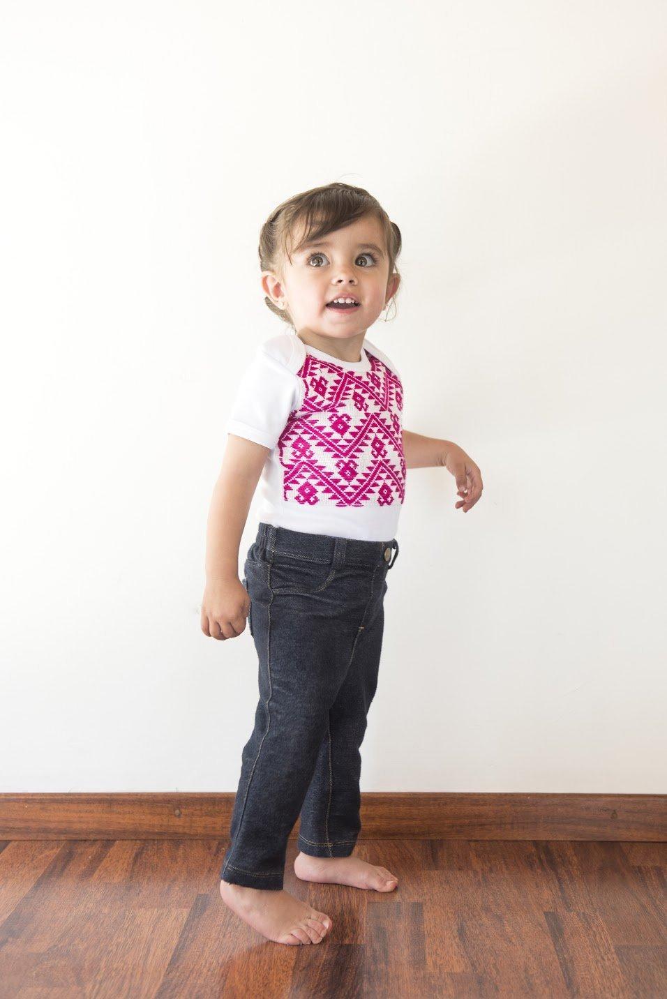 Body niña, 9-12 M, color rosa con bordado mexicano hecho a mano, ropa para bebe reborn: Amazon.es: Handmade