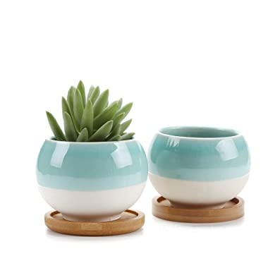 T4U 3'' Succulent Planters Pots Ceramic, Ball Shape Drainage Cactus Pots Window Boxes with Bamboo Tray Sky Blue, Set of 2