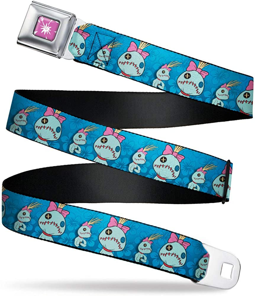 Buckle-Down Belt Seatbelt Buckle Lilo Stitch Scrump 2 Poses Hibiscus Flowers Blues Mens Womens Kids Adjustable
