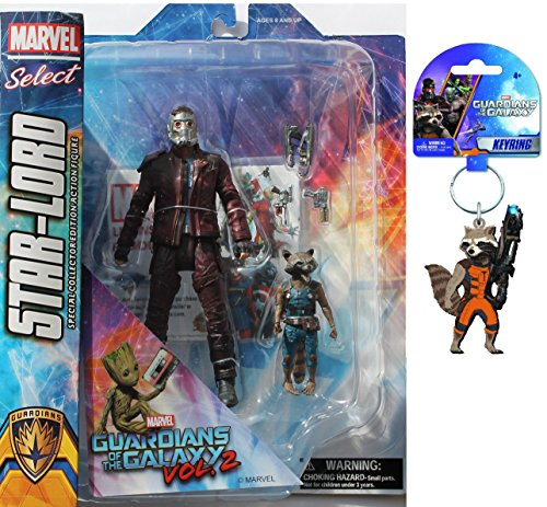 Diamond Select Toys Marvel Select: Guardians of The Galaxy 2 Star-Lord & Rocket Raccoon Action Figure Bundle includes Rocket PVC Keyring