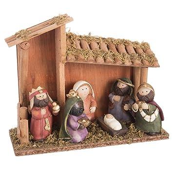 49c9771c8d6 Belén de Navidad con Portal de Resina marrón Infantil para decoración  navideña Christmas - LOLAhome