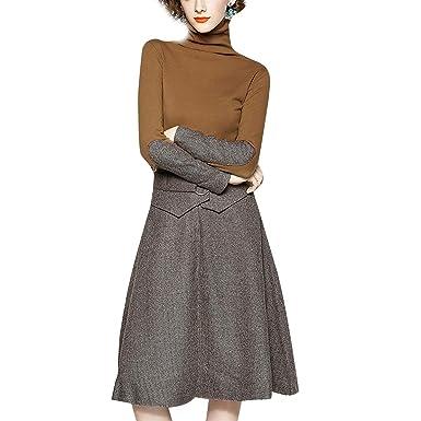Falda en el mar Bodycon Manga Larga Suéter de Cuello Alto Top ...