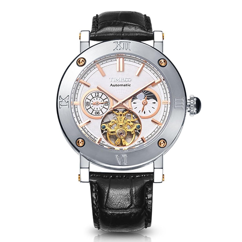 Time100 Herren Uhren Automatik Wasserdicht Chronograph Saphirglas Skelett Lederarmband Schwarz Uhr Mechanische 5 Bar