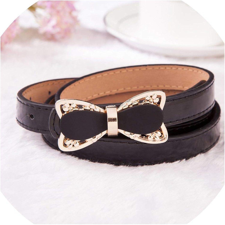 Women'S Belts Pink Bow Strap Belt Female Patent Pu Leather Waist Belt White  For Dress Skirt, Black, 105Cm at Amazon Women's Clothing store
