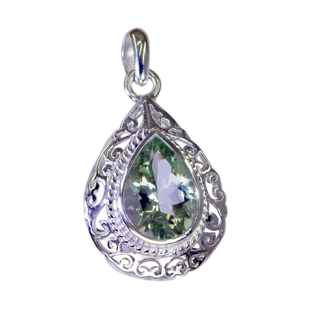 55Carat Natural Green Amethyst Silver Pendant Birthstone Charms for Women February Astrological Pear Shape