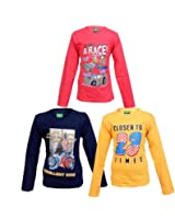 Devil Boys Full Sleeves Printed And Colour Cotton Tshirt Combo - Pack Of 3