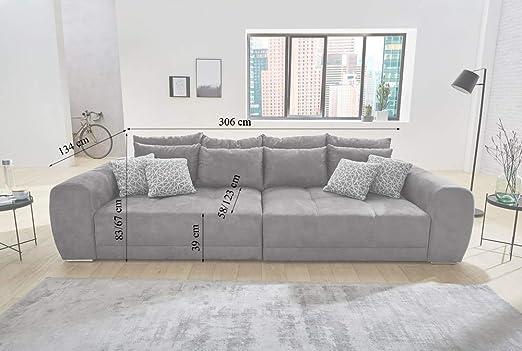 lifestyle4living big sofa grau microfaser xxl sofa mit extra tiefer sitzflache auch als liegesofa ca 3m breit amazon de kuche haushalt