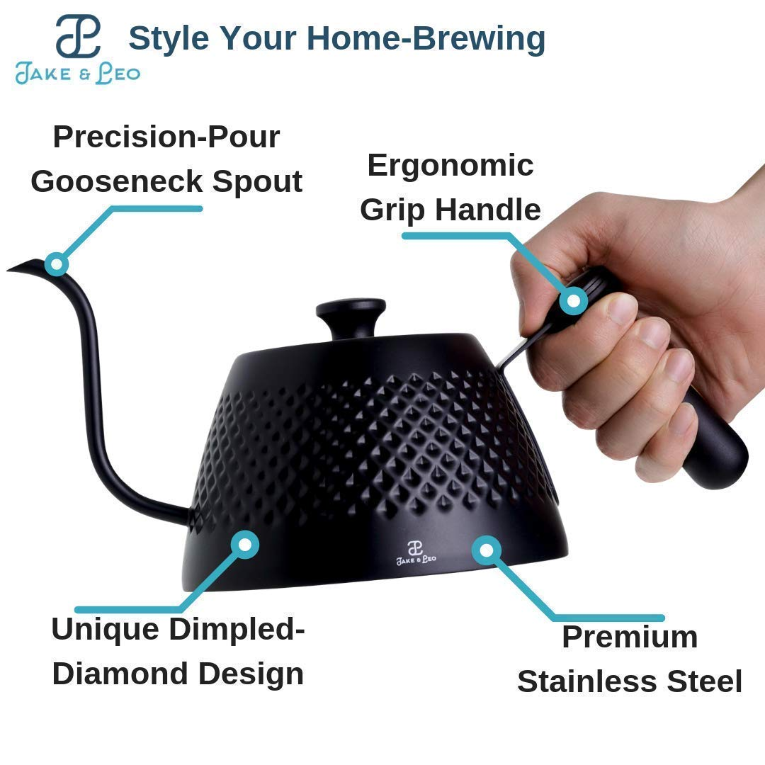 Jake & Leo Pour Over Kettle - Premium Stylish Dimpled Design, Stainless Steel - Gooseneck Specialty Kettle for Kitchen Stovetop - 34oz, Matte Black, Long Spout for Boiling, Pouring; Brew Coffee & Tea by Jake & Leo (Image #8)