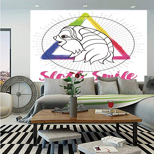 - Sloth Wall Mural,Smiling Sloth on Background with Sacred Geometry Symbol and Rainbow Watercolor Decorative,Self-Adhesive Large Wallpaper for Home Decor 83x120 inches,Pink Blue Green