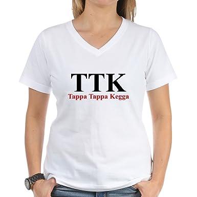 192ca7af CafePress TAPPA TAPPA KEGGA Funny Greek Ash V-Neck T-Shirt: Amazon.co.uk:  Clothing
