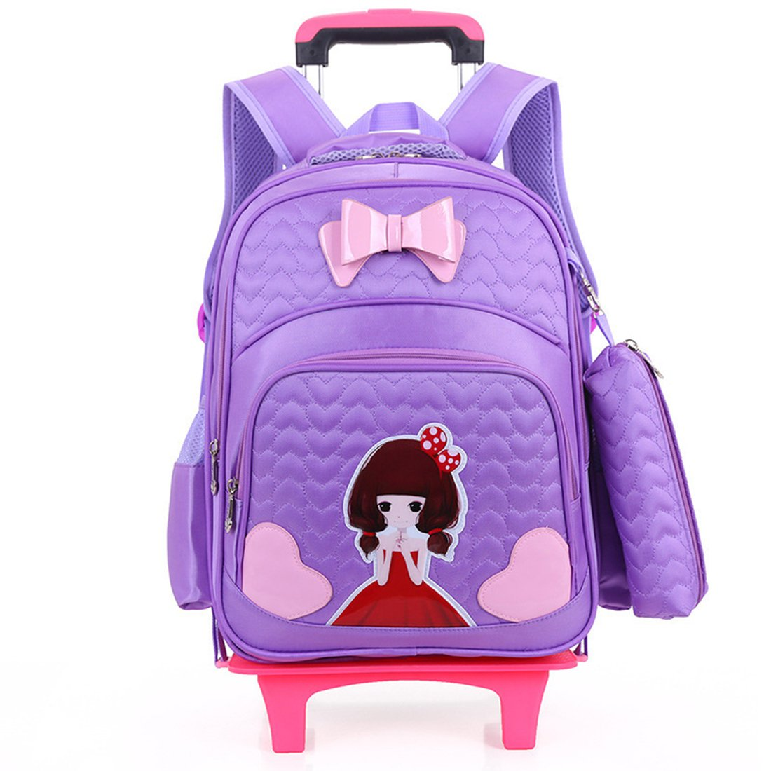 YYF Kids Rolling Backpack Trolley Schoolbag Shoulder Bag With Wheels