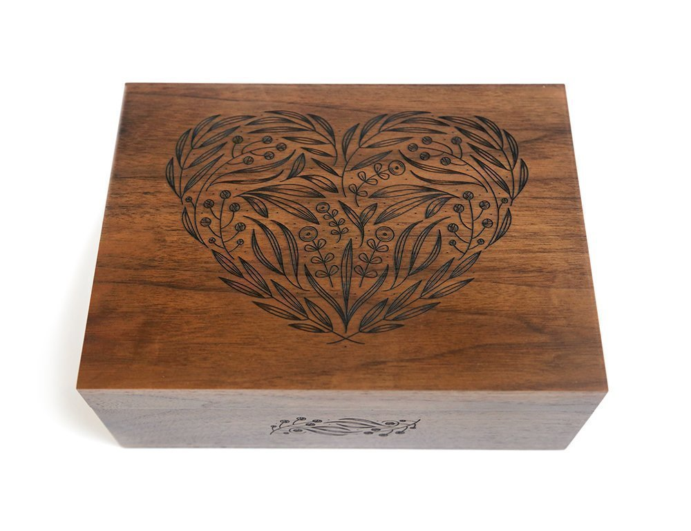 Floral Heart Laser Cut Wood Keepsake Box (Wedding Gift / Baby Shower Gift / 5 Year Anniversary / Heirloom / Decorative / Handmade)