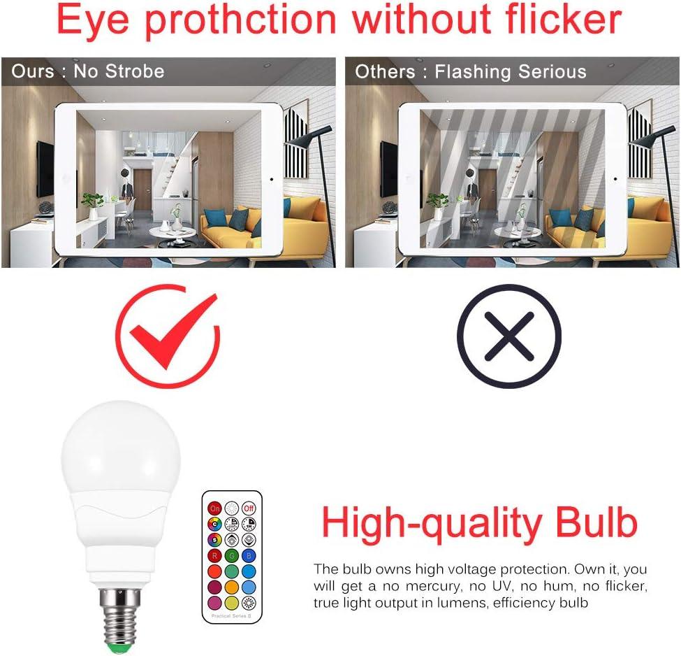 4pcs luci per effetti di scena KTV per feste a casa Winbang Lampadine doppia funzione di memoria 12 scelte di colore E14 Lampadine LED RGBW dimmerabili 5W Lampadine a colori con telecomando