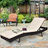 Tangkula Patio Reclining Chaise Lounge, Outdoor Beach Pool Yard Porch...