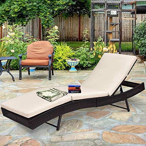 Tangkula Patio Reclining Chaise Lounge, Outdoor Beach Pool Yard Porch Wicker Rattan Adjustable Backrest Lounger Chair (Cushions Outdoor Bed Lounge)