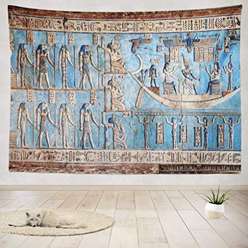 - Summor Tapestry Wall Hanging and Interior Walls Ancient Egyptian Egypt Wall Art Blue Home Decorations Living Room Bedroom Dorm 80x60 Inches