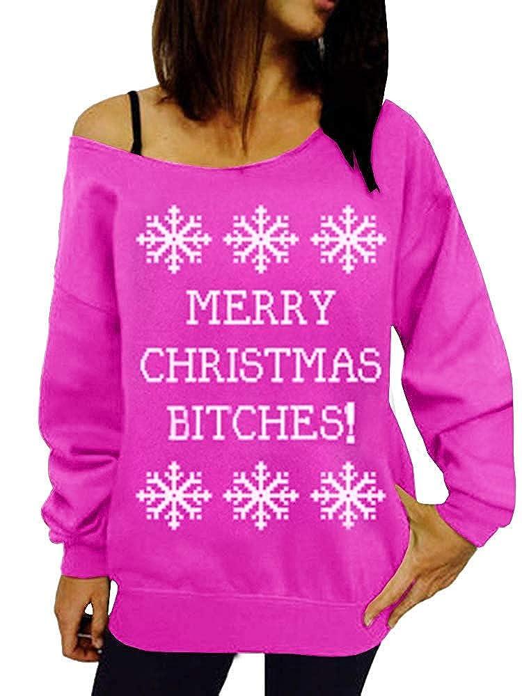 Merry Christmas Bitches Ugly Sweater Reindeer Off shoulder sweatshirt Xmas