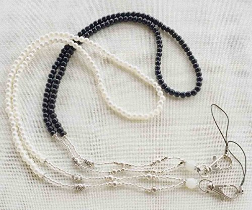 - Handcrafted 19 inch Pearl Necklace Women Beaded Fashion Lanyard for Keys, ID Badge Card Holder 2 Pack(Black/white)