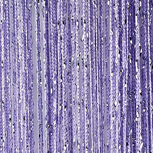 Senswalan 100cmX200cm Decorative Door String Curtain Wall Panel Fringe Window Room Divider Blind Divider Tassel Screen (Purple)