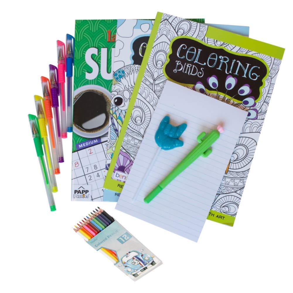 大人用 塗り絵 ギフトセット 女性用 塗り絵 Sudoku 色鉛筆 色鉛筆 かわいいサボテンペン メモ帳 サプライズスクイッシュ 楽しいデラックスアソートメント   B07PKG3Q96