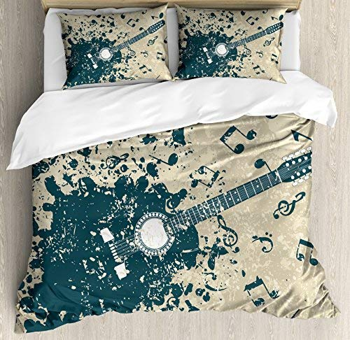 Modern 4 Piece Twin Size Duvet Cover Set, Acoustic Guitar on Retro Murky Background with Music Notes Melody Illustration, 4pcs Bedding Set Quilt Cover Bedspread with 2 Pillow Cases, Beige Dark Blue